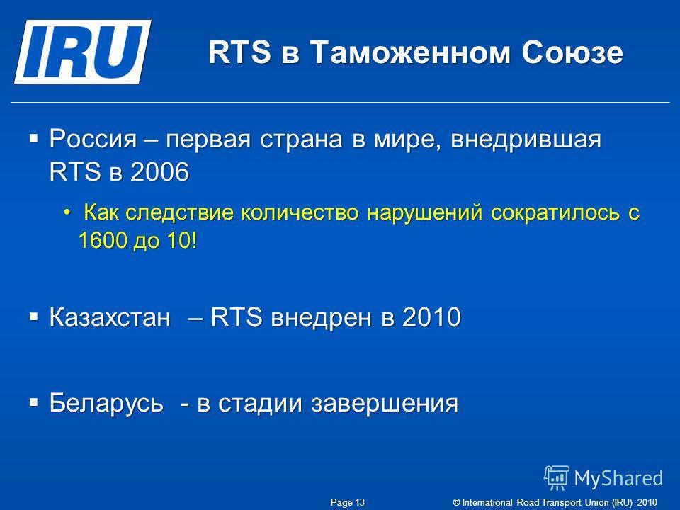 RTS в Таможенном Союзе Россия – первая страна в мире, внедрившая RTS в 2006 Россия – первая страна в мире, внедрившая RTS в 2006 Как следствие количество нарушений сократилось с 1600 до 10! Как следствие количество нарушений сократилось с 1600 до 10!