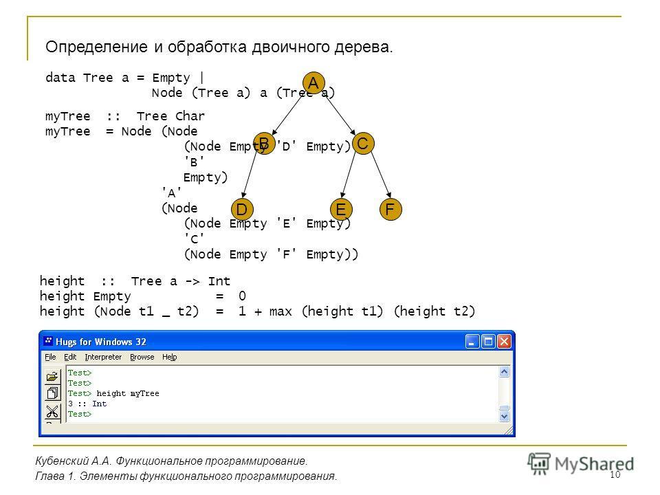 10 Определение и обработка двоичного дерева. Кубенский А.А. Функциональное программирование. Глава 1. Элементы функционального программирования. data Tree a = Empty | Node (Tree a) a (Tree a) A BC DEF myTree :: Tree Char myTree = Node (Node (Node Emp