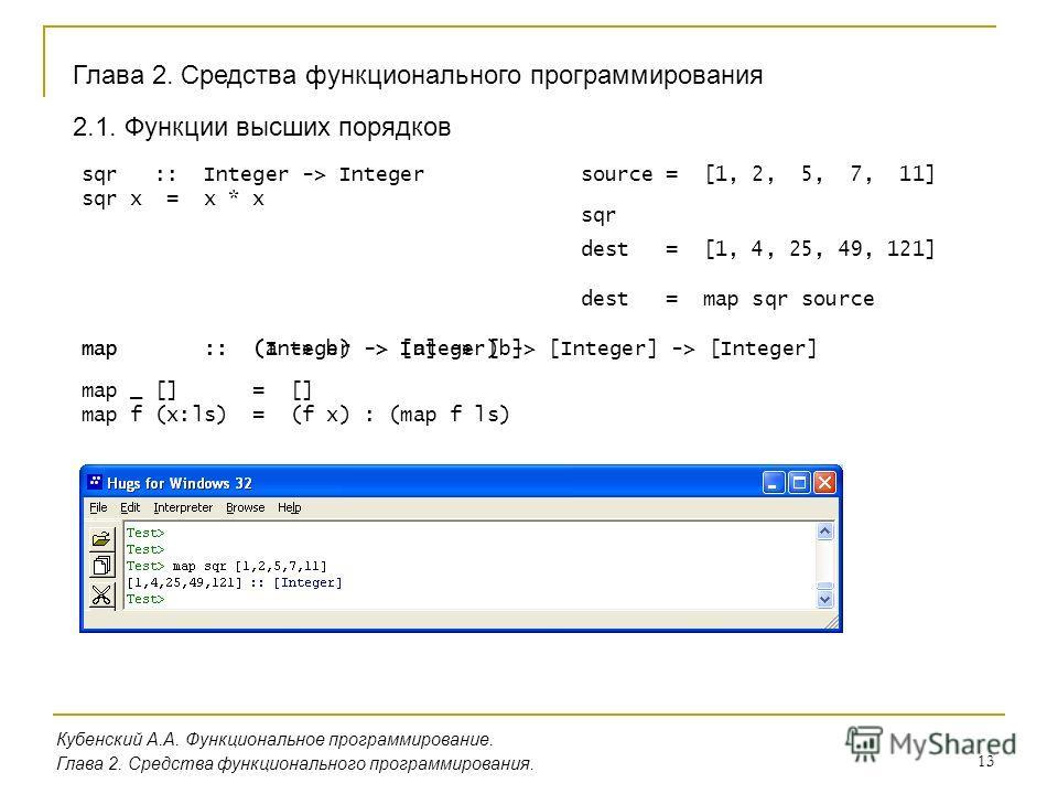 13 Глава 2. Средства функционального программирования Кубенский А.А. Функциональное программирование. Глава 2. Средства функционального программирования. 2.1. Функции высших порядков sqr :: Integer -> Integer sqr x = x * x source = [1, 2, 5, 7, 11] d