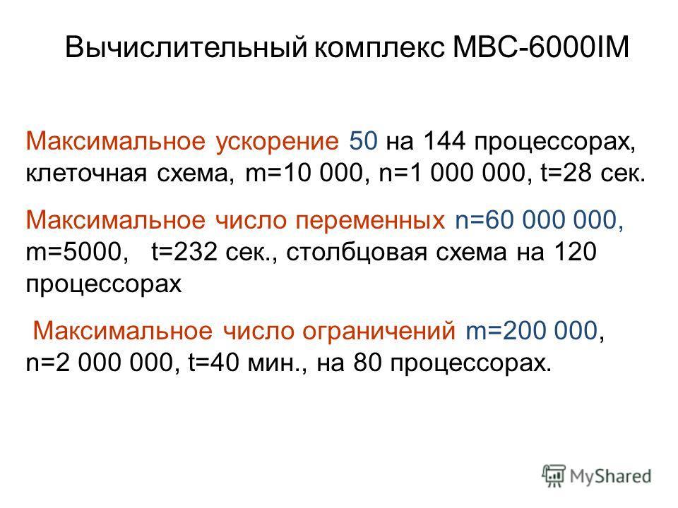 Вычислительный комплекс МВС-6000IM Максимальное ускорение 50 на 144 процессорах, клеточная схема, m=10 000, n=1 000 000, t=28 сек. Максимальное число переменных n=60 000 000, m=5000, t=232 сек., столбцовая схема на 120 процессорах Максимальное число