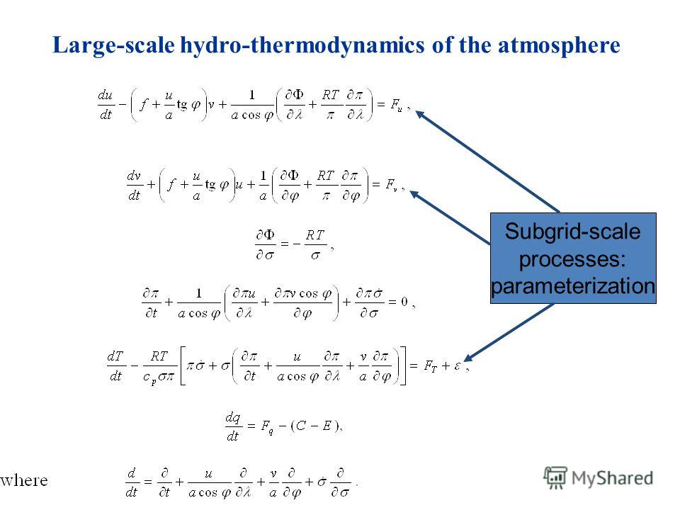 Large-scale hydro-thermodynamics of the atmosphere Subgrid-scale processes: parameterization