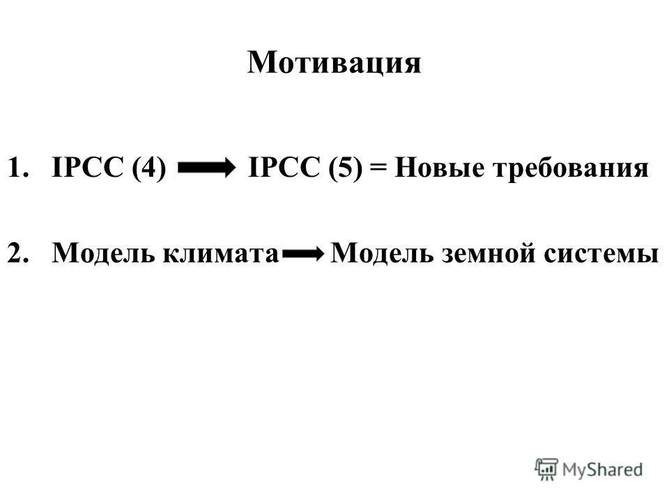 Мотивация 1.IPCC (4) IPCC (5) = Новые требования 2.Модель климата Модель земной системы