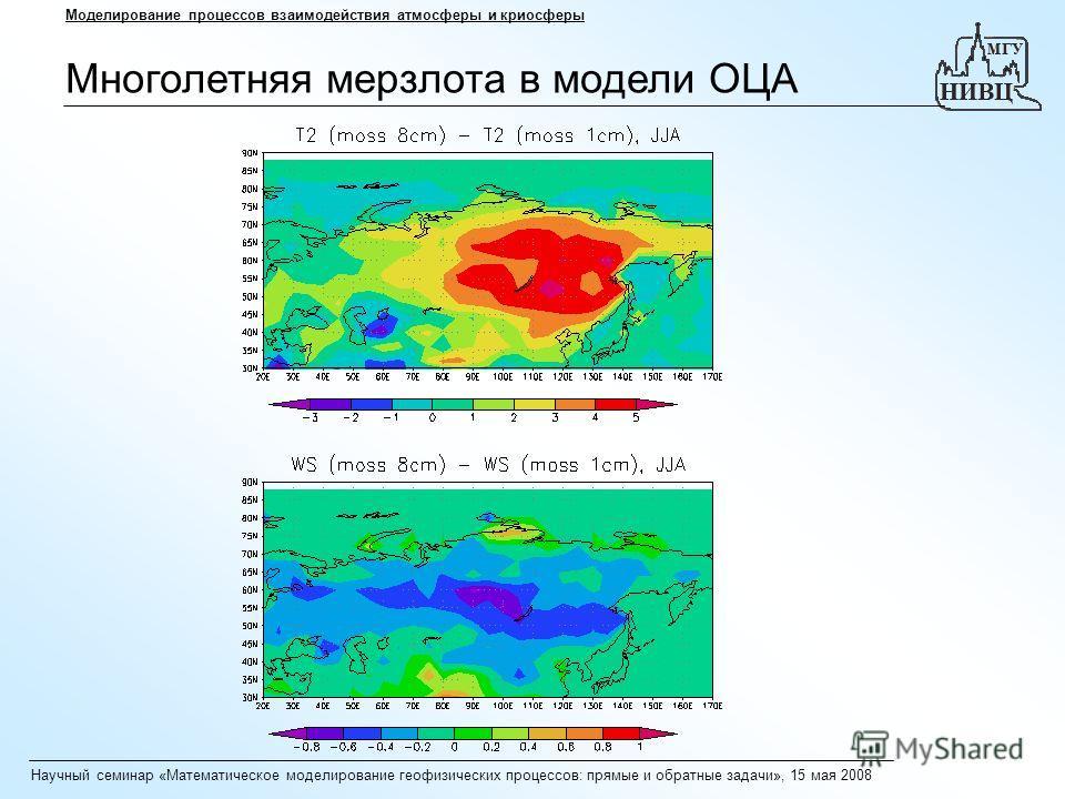 Научный семинар «Математическое моделирование геофизических процессов: прямые и обратные задачи», 15 мая 2008 Моделирование процессов взаимодействия атмосферы и криосферы Многолетняя мерзлота в модели ОЦА