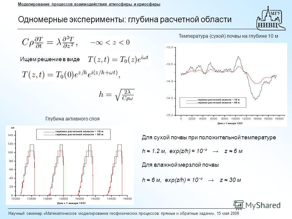Научный семинар «Математическое моделирование геофизических процессов: прямые и обратные задачи», 15 мая 2008 Моделирование процессов взаимодействия атмосферы и криосферы Одномерные эксперименты: глубина расчетной области Ищем решение в виде Глубина