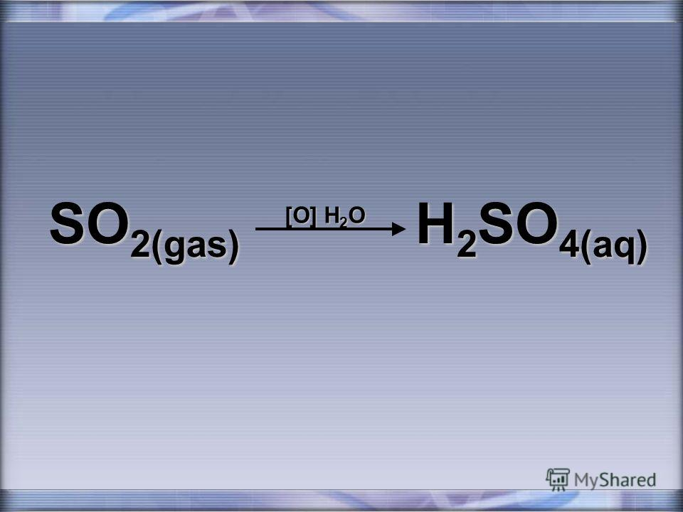 SO 2(gas) H 2 SO 4(aq) [O] H 2 O
