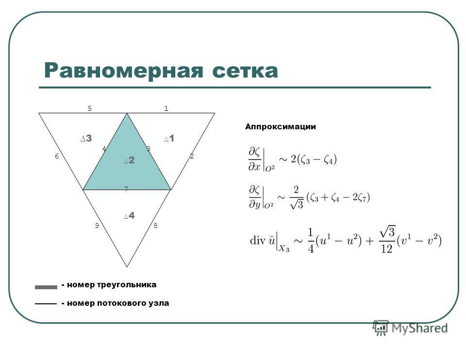 Равномерная сетка 1 2 3 4 1 2 34 5 6 7 98 - номер треугольника - номер потокового узла Аппроксимации