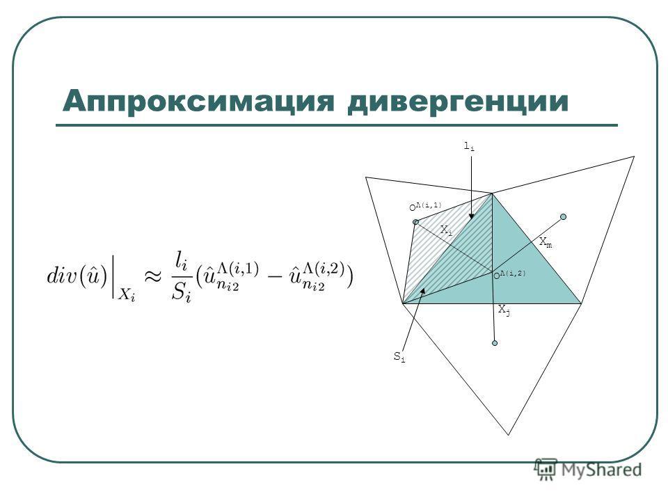Аппроксимация дивергенции XmXm XjXj XiXi O Λ(i,2) O Λ(i,1) SiSi lili