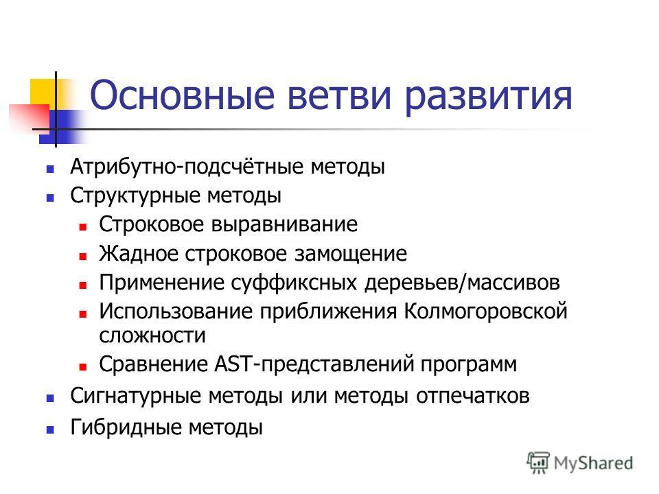 Основные ветви развития Атрибутно-подсчётные методы Структурные методы Строковое выравнивание Жадное строковое замощение Применение суффиксных деревьев/массивов Использование приближения Колмогоровской сложности Сравнение AST-представлений программ С