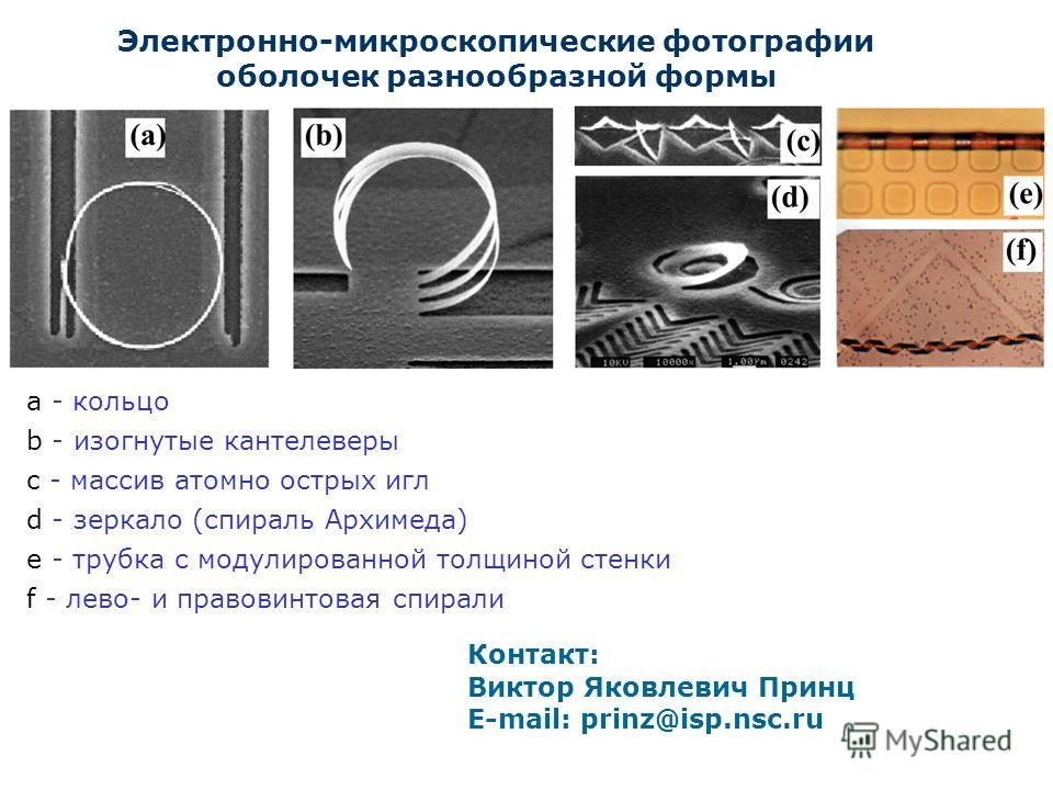 Электронно-микроскопические фотографии оболочек разнообразной формы а - кольцо b - изогнутые кантелеверы c - массив атомно острых игл d - зеркало (спираль Архимеда) е - трубка с модулированной толщиной стенки f - лево- и правовинтовая спирали Контакт