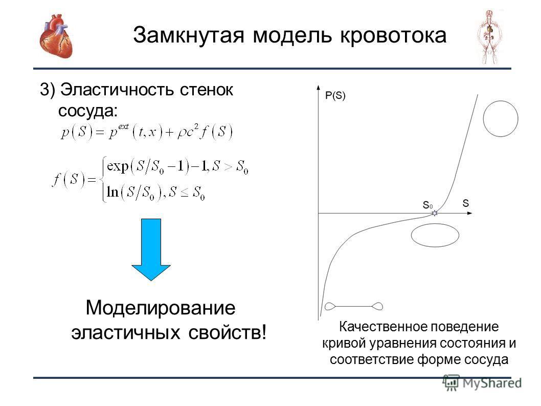 10 Замкнутая модель кровотока 3) Эластичность стенок сосуда: Качественное поведение кривой уравнения состояния и соответствие форме сосуда Моделирование эластичных свойств!