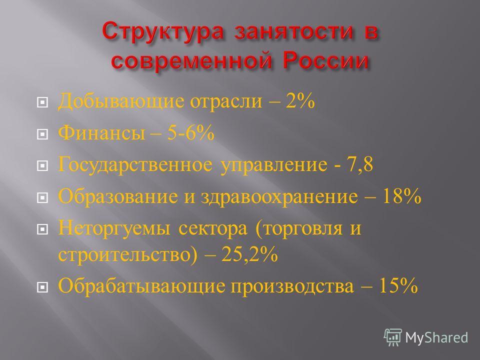 Добывающие отрасли – 2% Финансы – 5-6% Государственное управление - 7,8 Образование и здравоохранение – 18% Неторгуемы сектора ( торговля и строительство ) – 25,2% Обрабатывающие производства – 15%