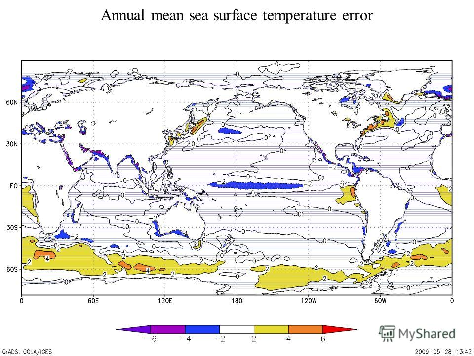 Annual mean sea surface temperature error