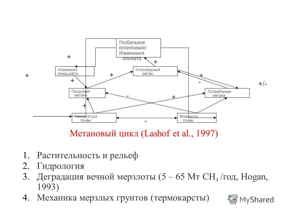Глобальное потепление/ Изменения климата Атмосферный метан Потребление метана Продукция метана Температура почвы Влажность почвы Изменения ландшафта Метановый цикл (Lashof et al., 1997) 1.Растительность и рельеф 2.Гидрология 3.Деградация вечной мерзл