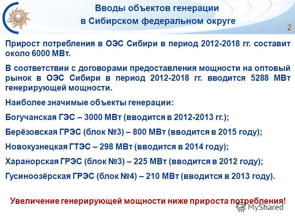 2 Вводы объектов генерации в Сибирском федеральном округе Прирост потребления в ОЭС Сибири в период 2012-2018 гг. составит около 6000 МВт. В соответствии с договорами предоставления мощности на оптовый рынок в ОЭС Сибири в период 2012-2018 гг. вводит