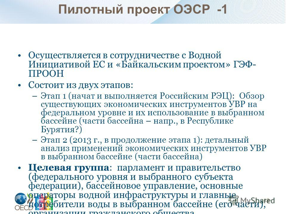Пилотный проект ОЭСР -1 Осуществляется в сотрудничестве с Водной Инициативой ЕС и «Байкальским проектом» ГЭФ- ПРООН Состоит из двух этапов: –Этап 1 (начат и выполняется Российским РЭЦ): Обзор существующих экономических инструментов УВР на федеральном