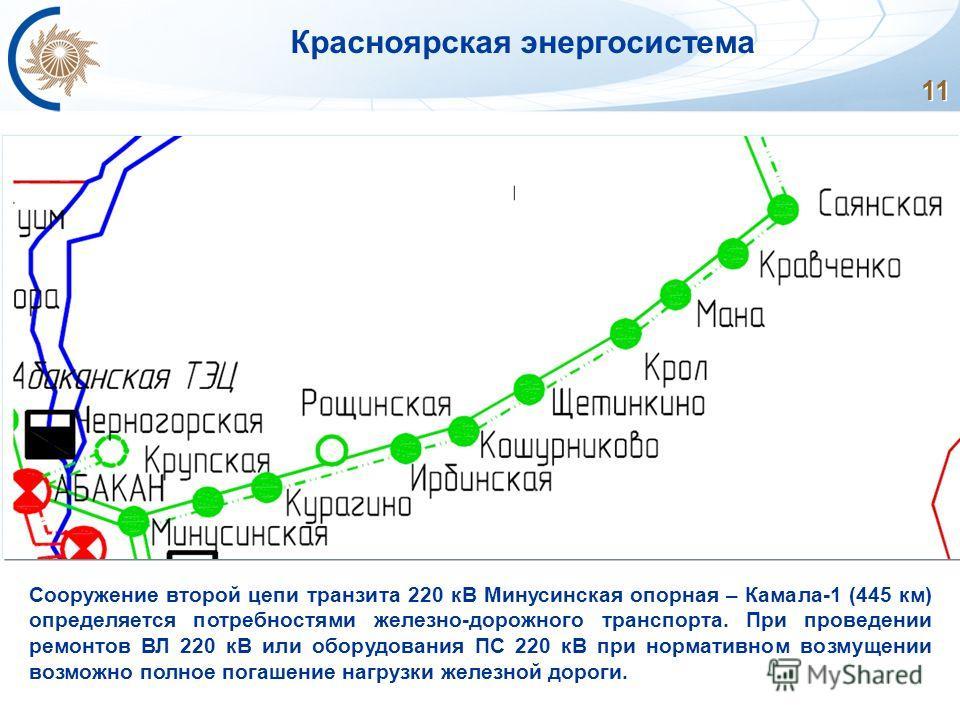 11 Сооружение второй цепи транзита 220 кВ Минусинская опорная – Камала-1 (445 км) определяется потребностями железно-дорожного транспорта. При проведении ремонтов ВЛ 220 кВ или оборудования ПС 220 кВ при нормативном возмущении возможно полное погашен