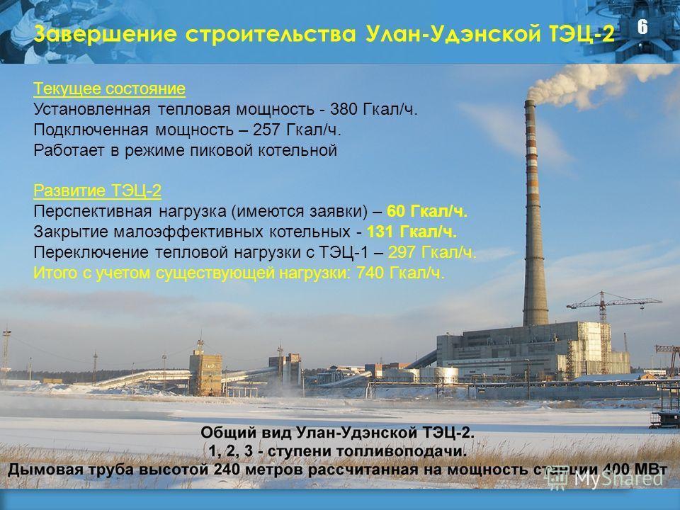 Завершение строительства Улан-Удэнской ТЭЦ-2 6 Текущее состояние Установленная тепловая мощность - 380 Гкал/ч. Подключенная мощность – 257 Гкал/ч. Работает в режиме пиковой котельной Развитие ТЭЦ-2 Перспективная нагрузка (имеются заявки) – 60 Гкал/ч.