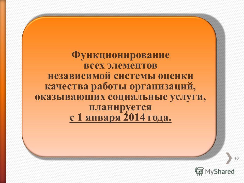 13 Функционирование всех элементов независимой системы оценки качества работы организаций, оказывающих социальные услуги, планируется с 1 января 2014 года.