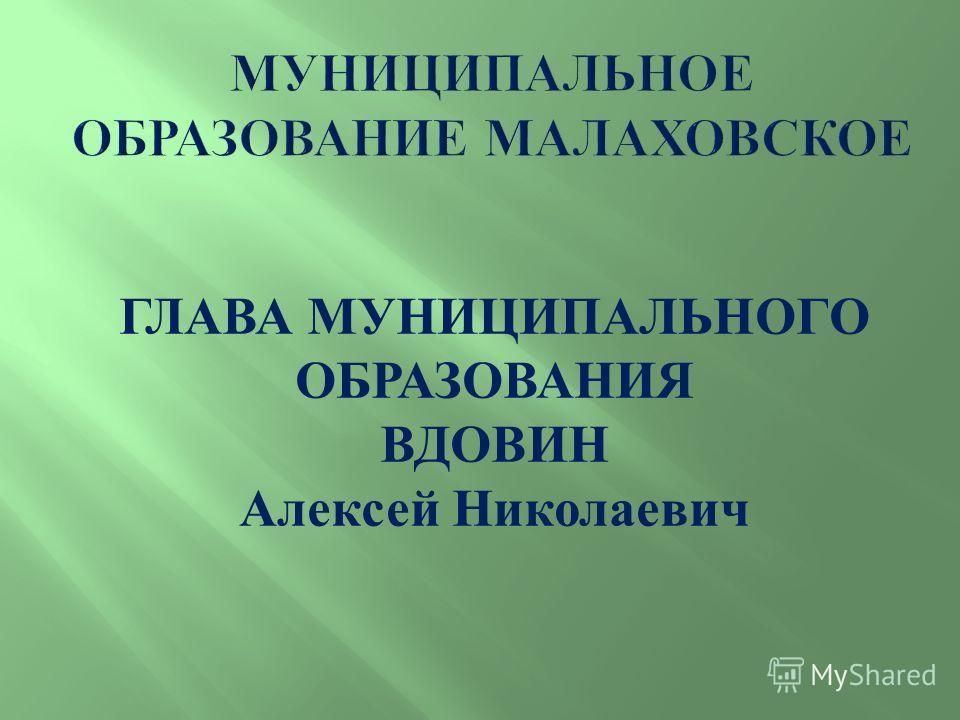 ГЛАВА МУНИЦИПАЛЬНОГО ОБРАЗОВАНИЯ ВДОВИН Алексей Николаевич