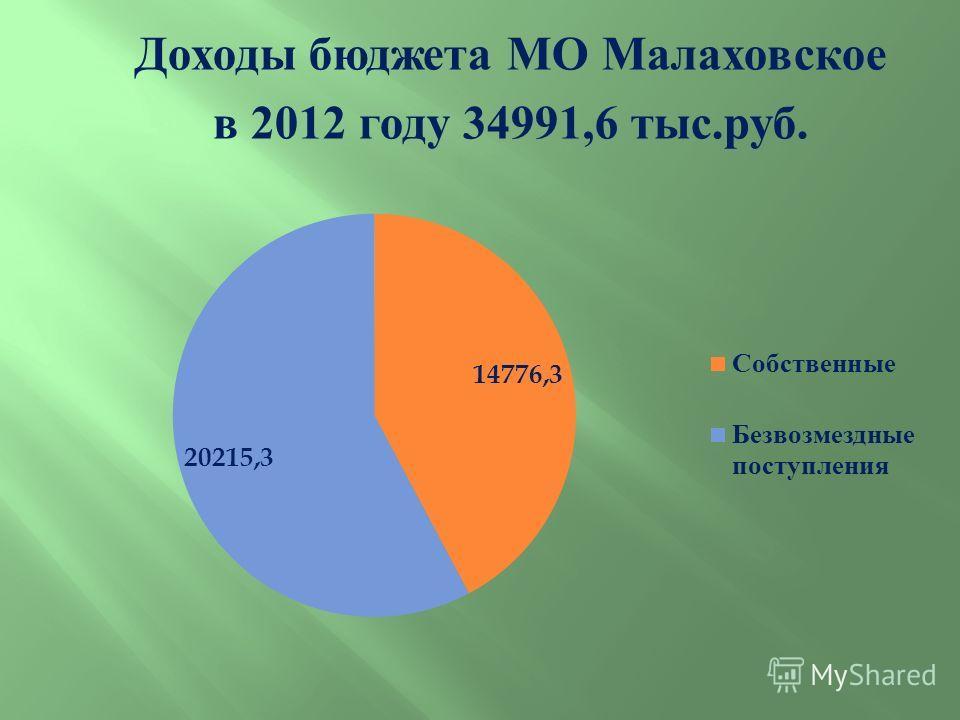 Доходы бюджета МО Малаховское в 2012 году 34991,6 тыс. руб.