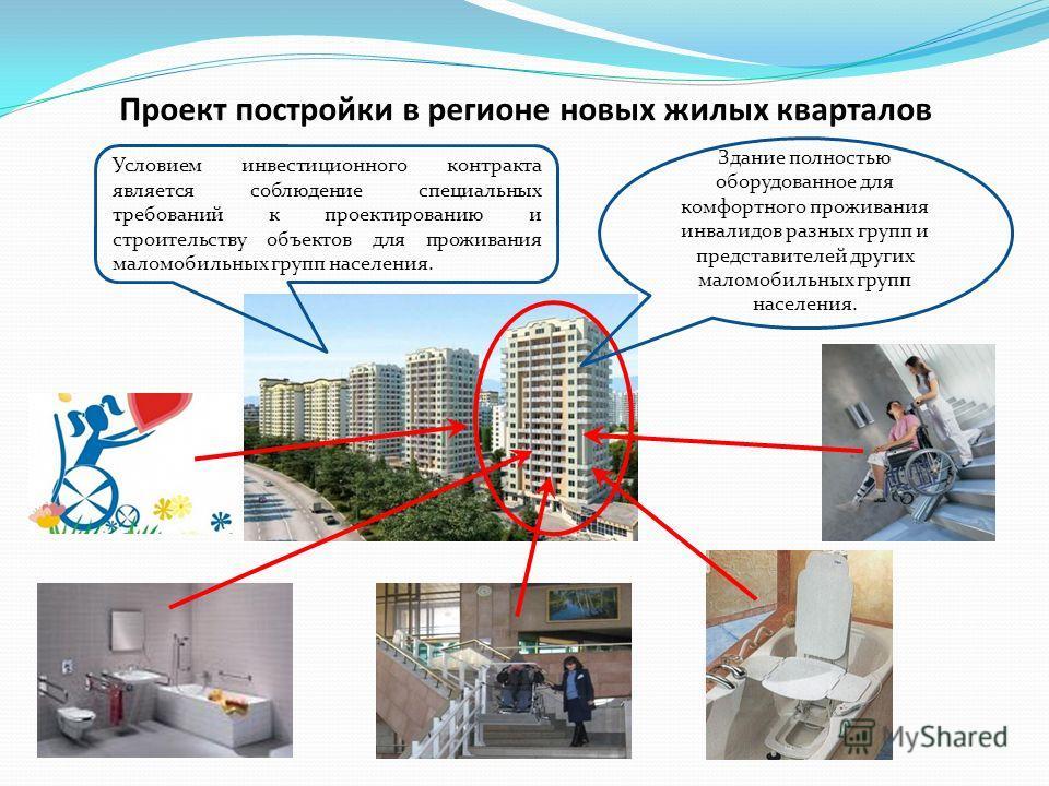 Здание полностью оборудованное для комфортного проживания инвалидов разных групп и представителей других маломобильных групп населения. Условием инвестиционного контракта является соблюдение специальных требований к проектированию и строительству объ