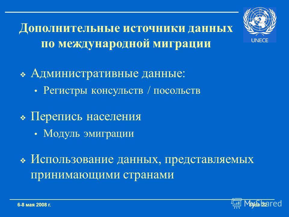 Slide 22 Административные данные: Регистры консульств / посольств Перепись населения Модуль эмиграции Использование данных, представляемых принимающими странами 6-8 мая 2008 г. Дополнительные источники данных по международной миграции