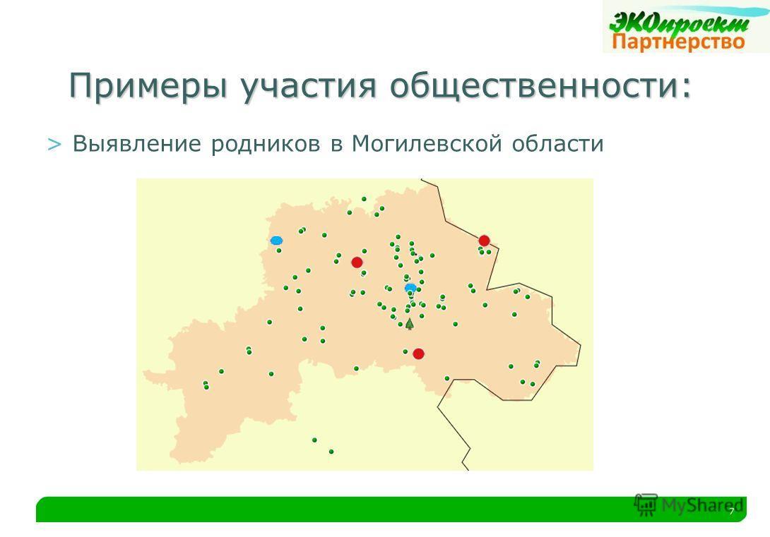 7 Примеры участия общественности: >Выявление родников в Могилевской области