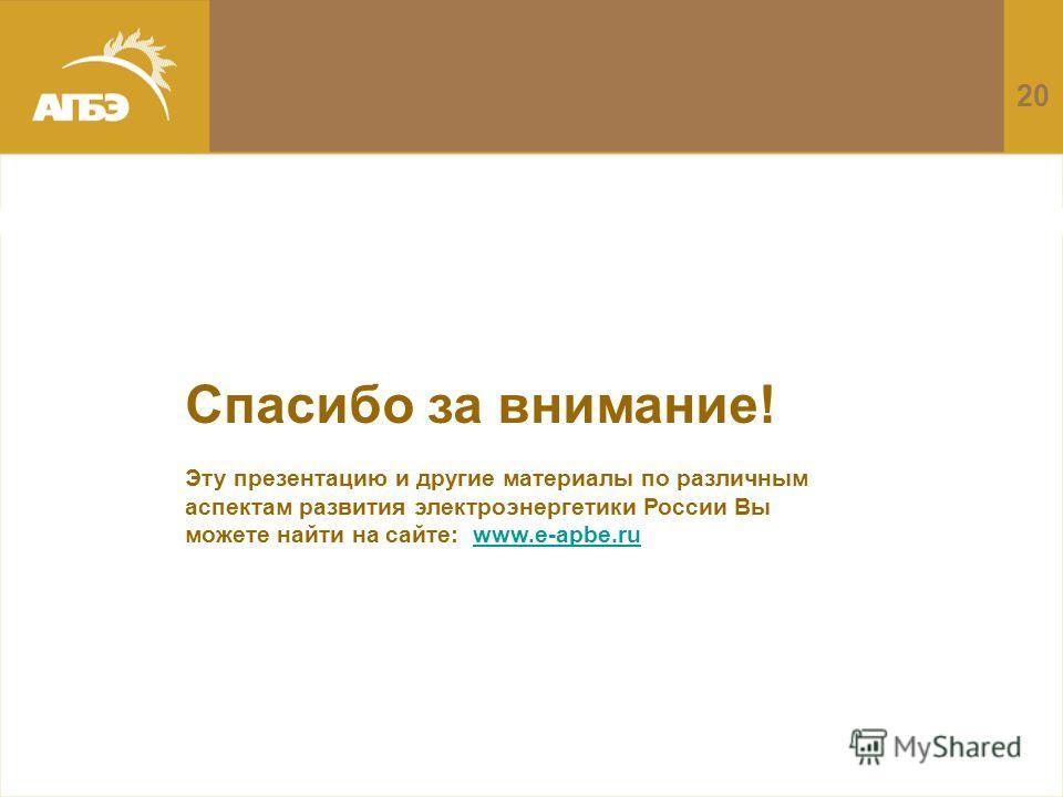 20 Спасибо за внимание! Эту презентацию и другие материалы по различным аспектам развития электроэнергетики России Вы можете найти на сайте: www.e-apbe.ruwww.e-apbe.ru
