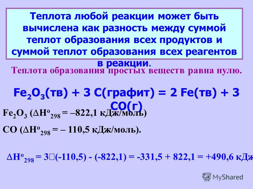 Теплота любой реакции может быть вычислена как разность между суммой теплот образования всех продуктов и суммой теплот образования всех реагентов в реакции. Теплота образования простых веществ равна нулю. Fe 2 O 3 (тв) + 3 C(графит) = 2 Fe(тв) + 3 CO