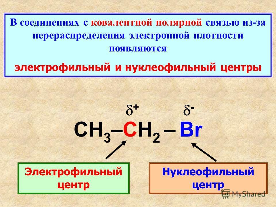 В соединениях с ковалентной полярной связью из-за перераспределения электронной плотности появляются электрофильный и нуклеофильный центры CH 3 –CH 2 – Br + - Электрофильный центр Нуклеофильный центр