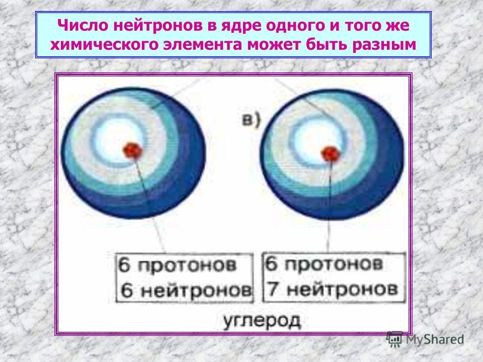 Число нейтронов в ядре одного и того же химического элемента может быть разным