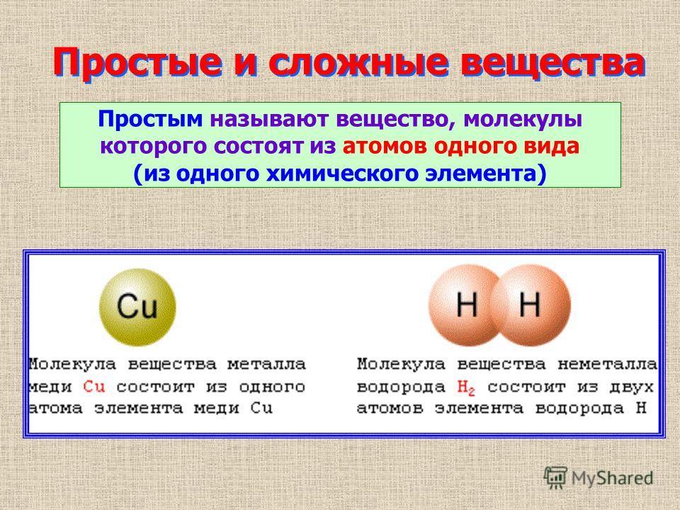 Простые и сложные вещества Простым называют вещество, молекулы которого состоят из атомов одного вида (из одного химического элемента)