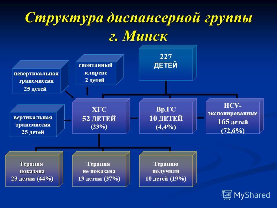 Структура диспансерной группы г. Минск невертикальная трансмиссия 25 детей вертикальная трансмиссия 25 детей спонтанный клиренс 2 детей