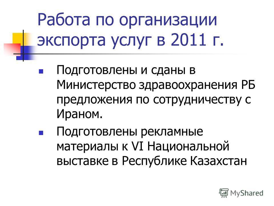 Подготовлены и сданы в Министерство здравоохранения РБ предложения по сотрудничеству с Ираном. Подготовлены рекламные материалы к VI Национальной выставке в Республике Казахстан