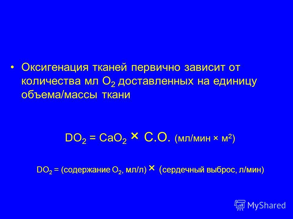 Оксигенация тканей первично зависит от количества мл О 2 доставленных на единицу объема/массы ткани DO 2 = CaO 2 × C.O. (мл/мин × м 2 ) DO 2 = (содержание О 2, мл/л) × ( сердечный выброс, л/мин)