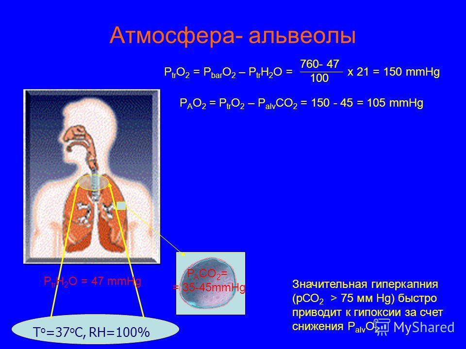 Атмосфера- альвеолы Т о =37 о С, RH=100% P tr H 2 O = 47 mmHg Р tr О 2 = P bar O 2 – P tr H 2 O = х 21 = 150 mmHg 760- 47 100 Р A О 2 = P tr O 2 – P alv CO 2 = 150 - 45 = 105 mmHg P A CO 2 = = 35-45mmHg Значительная гиперкапния (рСО 2 > 75 мм Нg) быс