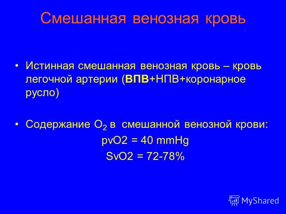 Смешанная венозная кровь Истинная смешанная венозная кровь – кровь легочной артерии (ВПВ+НПВ+коронарное русло) Содержание О 2 в смешанной венозной крови: рvO2 = 40 mmHg SvO2 = 72-78%