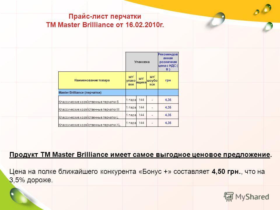Прайс-лист перчатки ТМ Master Brilliance от 16.02.2010г. Упаковка Рекомендов анная розничная цена с НДС ( R ) Наименование товара шт/ упако вке шт/ ящике шт/ шоубо ксе грн Master Brilliance (перчатки) Классические хозяйственные перчатки S 1 пара144-4