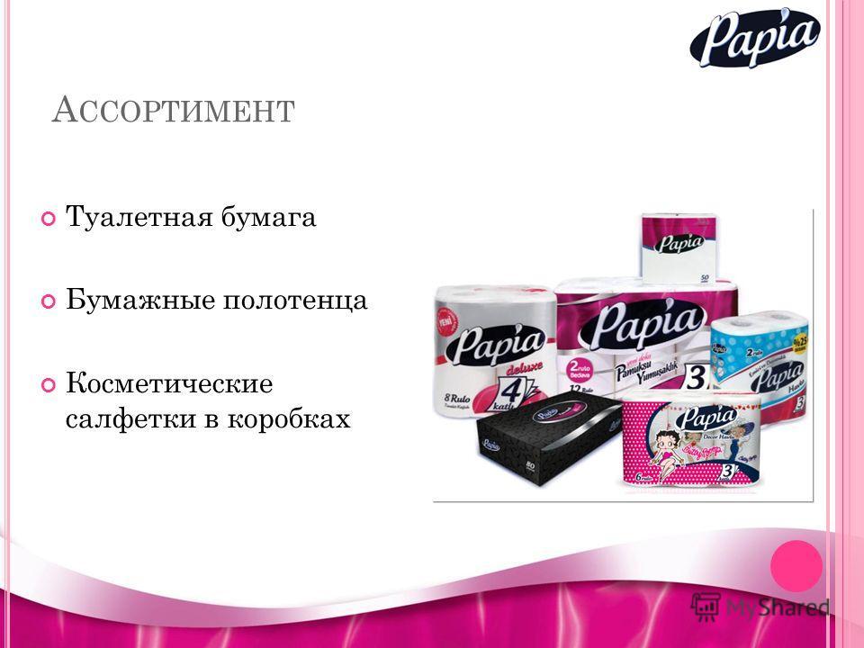 А ССОРТИМЕНТ Туалетная бумага Бумажные полотенца Косметические салфетки в коробках