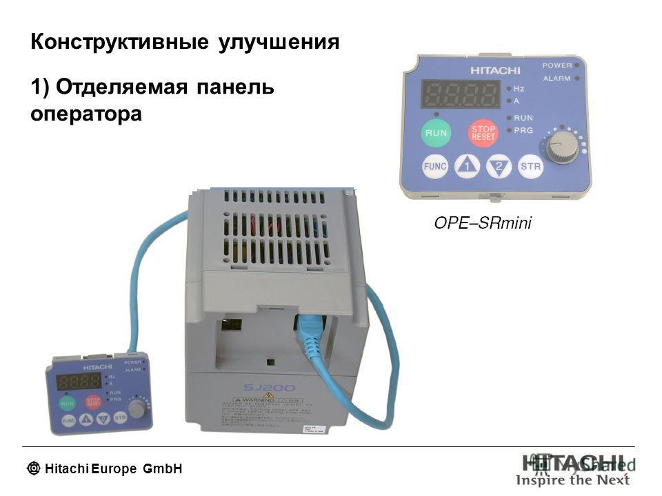 Hitachi Europe GmbH Конструктивные улучшения 1) Отделяемая панель оператора