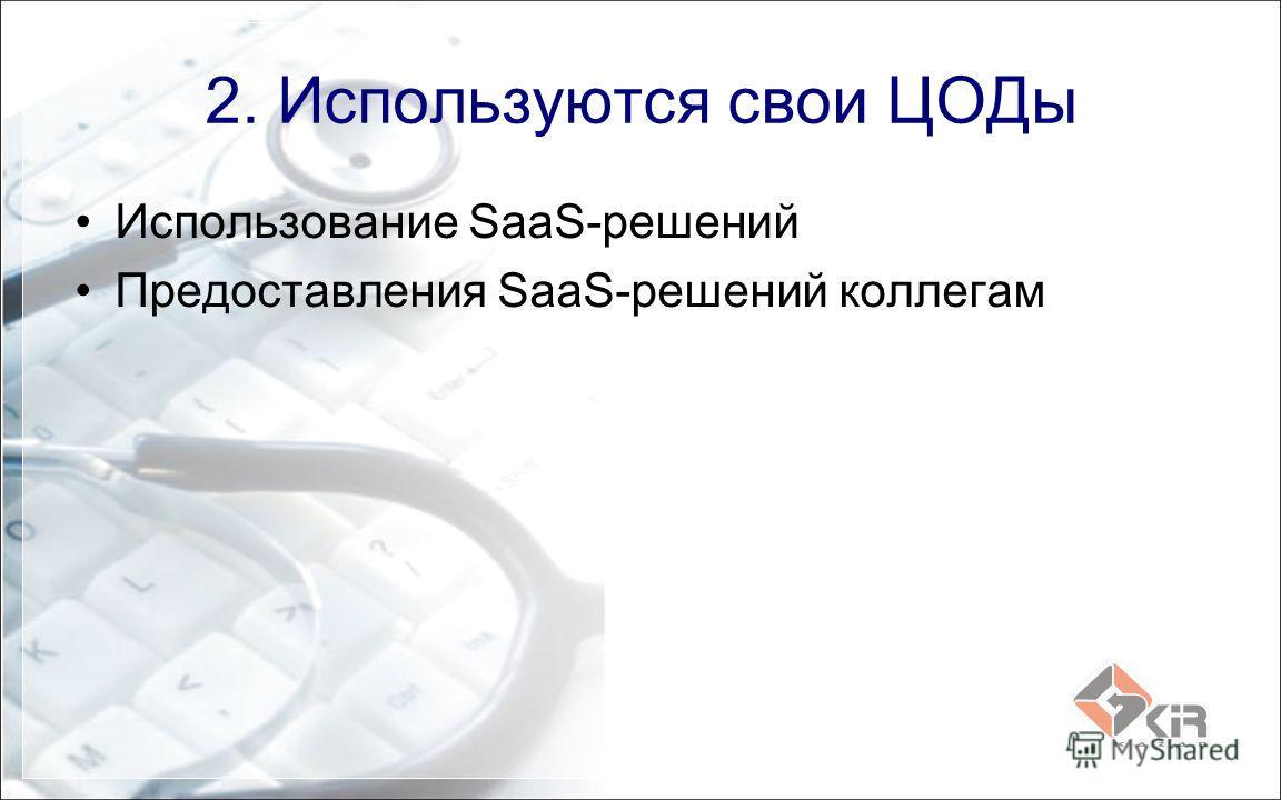 2. Используются свои ЦОДы Использование SaaS-решений Предоставления SaaS-решений коллегам