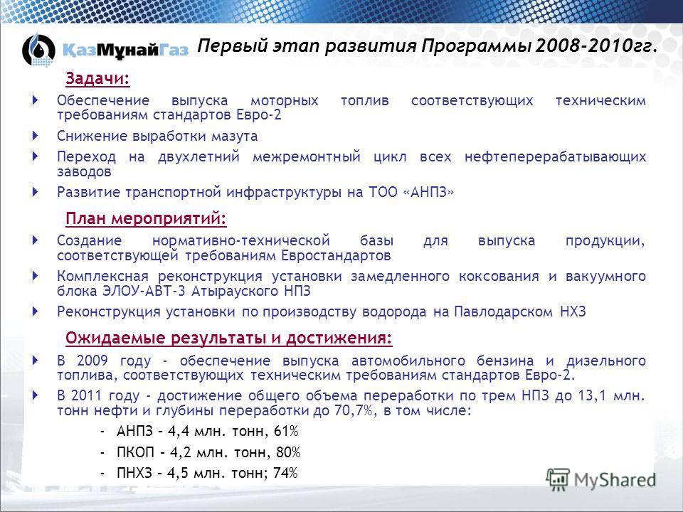 5 Первый этап развития Программы 2008-2010гг. Задачи: Обеспечение выпуска моторных топлив соответствующих техническим требованиям стандартов Евро-2 Снижение выработки мазута Переход на двухлетний межремонтный цикл всех нефтеперерабатывающих заводов Р