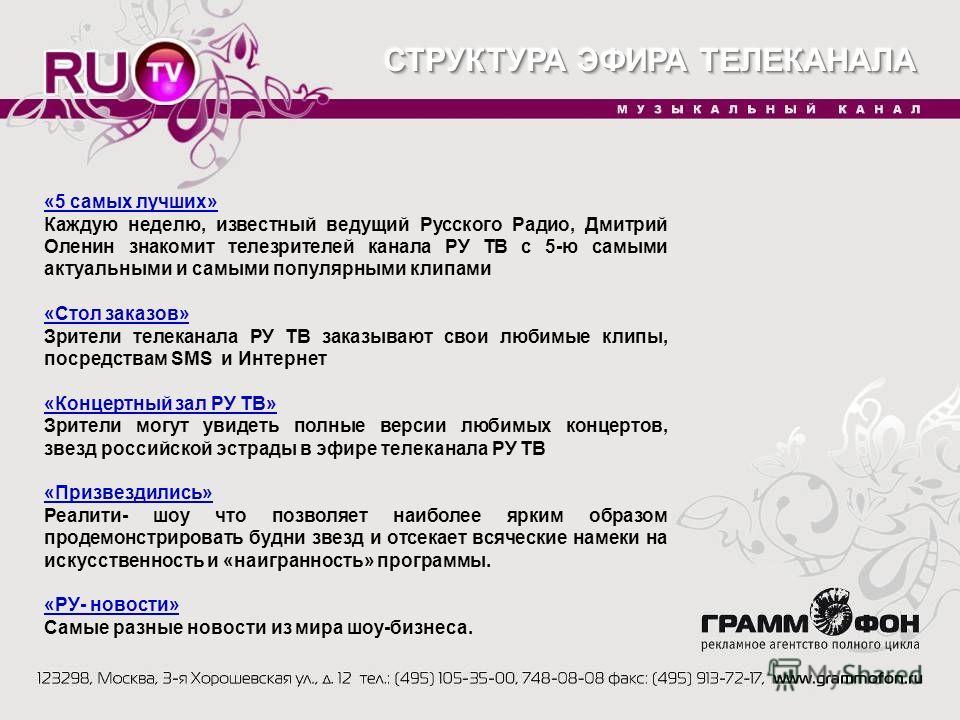 «5 самых лучших» Каждую неделю, известный ведущий Русского Радио, Дмитрий Оленин знакомит телезрителей канала РУ ТВ с 5-ю самыми актуальными и самыми популярными клипами «Стол заказов» Зрители телеканала РУ ТВ заказывают свои любимые клипы, посредств