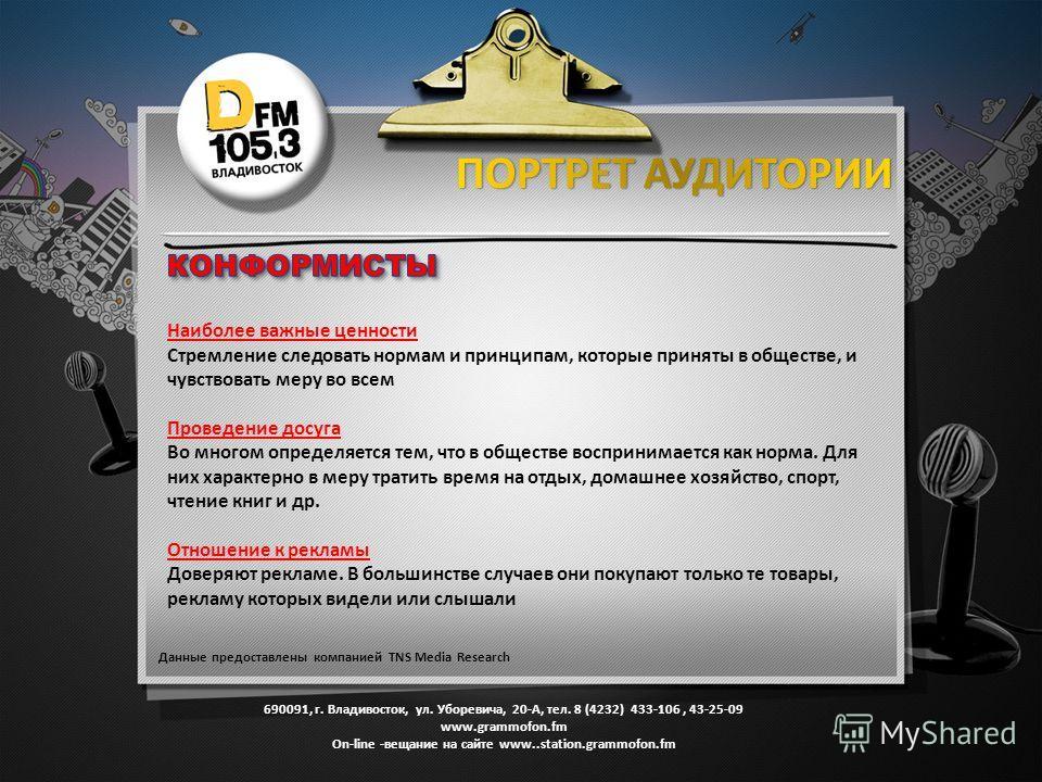 690091, г. Владивосток, ул. Уборевича, 20-А, тел. 8 (4232) 433-106, 43-25-09 www.grammofon.fm Оn-line -вещание на сайте www..station.grammofon.fm Данные предоставлены компанией TNS Media Research Наиболее важные ценности Стремление следовать нормам и