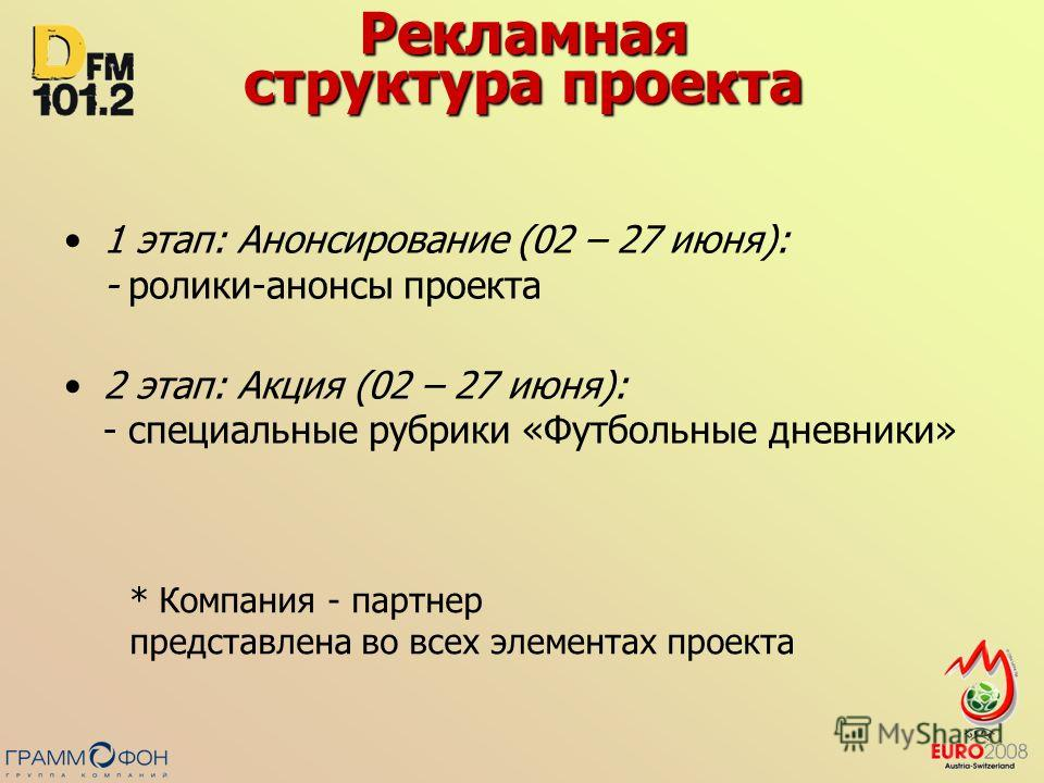 Рекламная структура проекта 1 этап: Анонсирование (02 – 27 июня): - ролики-анонсы проекта 2 этап: Акция (02 – 27 июня): - специальные рубрики «Футбольные дневники» * Компания - партнер представлена во всех элементах проекта
