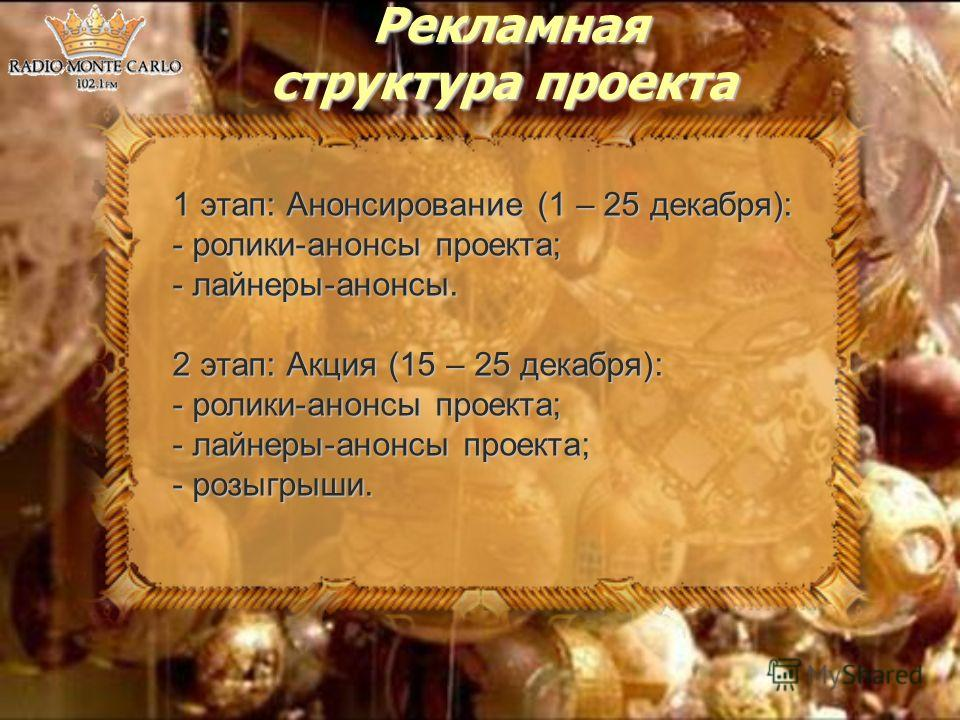 Рекламная структура проекта Рекламная структура проекта 1 этап: Анонсирование (1 – 25 декабря): - ролики-анонсы проекта; - лайнеры-анонсы. 2 этап: Акция (15 – 25 декабря): - ролики-анонсы проекта; - лайнеры-анонсы проекта; - розыгрыши.