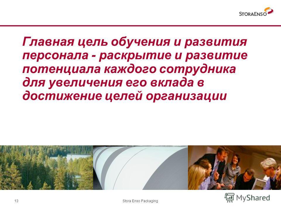 Stora Enso Packaging13 Главная цель обучения и развития персонала - раскрытие и развитие потенциала каждого сотрудника для увеличения его вклада в достижение целей организации