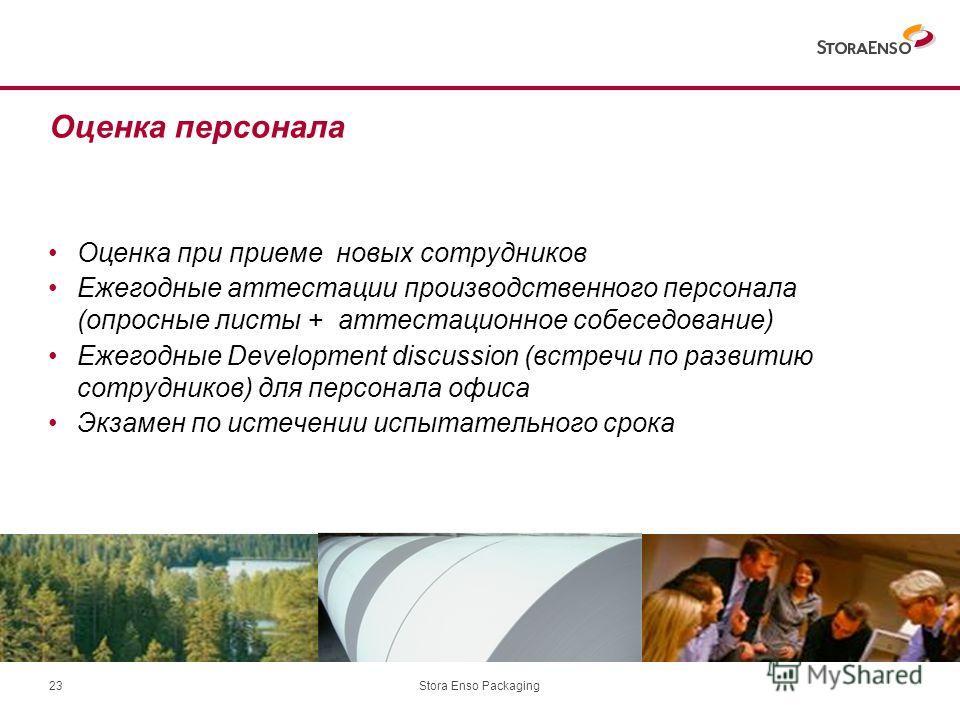 Stora Enso Packaging23 Оценка персонала Оценка при приеме новых сотрудников Ежегодные аттестации производственного персонала (опросные листы + аттестационное собеседование) Ежегодные Development discussion (встречи по развитию сотрудников) для персон