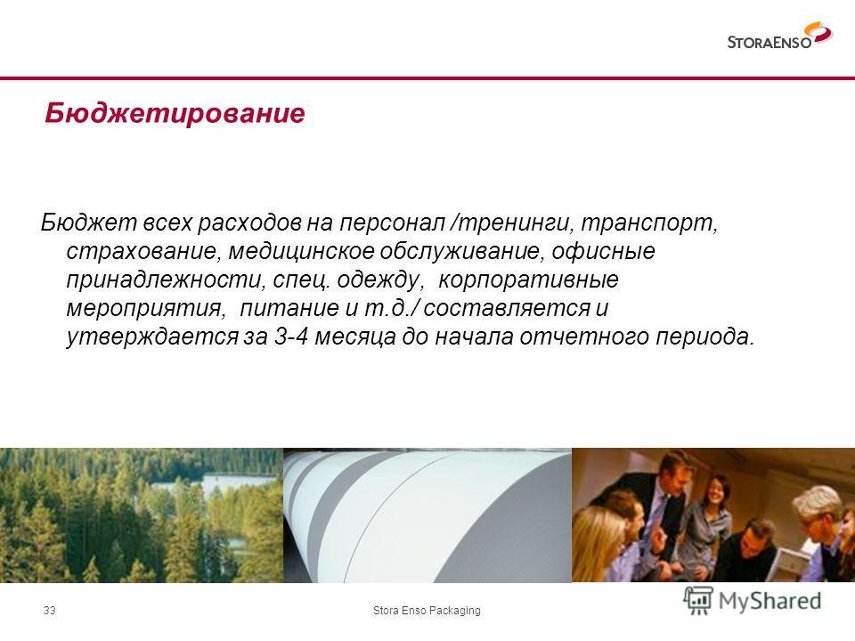 Stora Enso Packaging33 Бюджет всех расходов на персонал /тренинги, транспорт, страхование, медицинское обслуживание, офисные принадлежности, спец. одежду, корпоративные мероприятия, питание и т.д./ составляется и утверждается за 3-4 месяца до начала