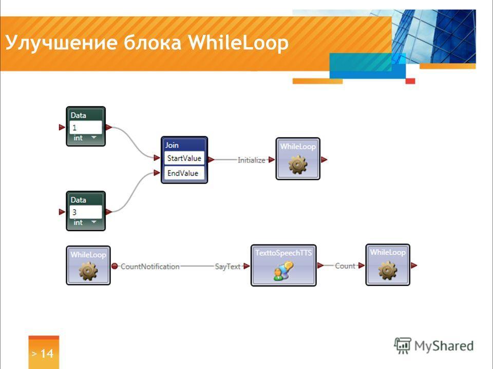 Улучшение блока WhileLoop > 14
